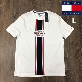 トミーヒルフィガー(TOMMY HILFIGER)のトミーヒルフィガーデニム 半袖 Tシャツ ラインロゴ ラバー(L)白181214(Tシャツ/カットソー(半袖/袖なし))