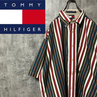 TOMMY HILFIGER - 【激レア】トミーヒルフィガー☆オールド刺繍ロゴ半袖マルチストライプシャツ 90s