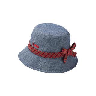 familiar - ファミリア familiar 現行品 デニム×チェック リボン帽子