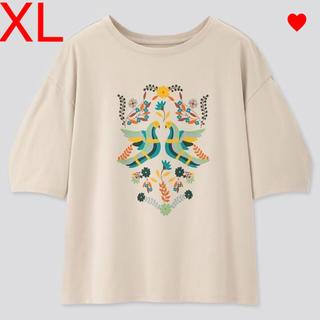 アナスイ(ANNA SUI)のユニクロ アナスイ ANNA SUI コラボ UTシャツ XL ライトグレー 鳥(Tシャツ(半袖/袖なし))