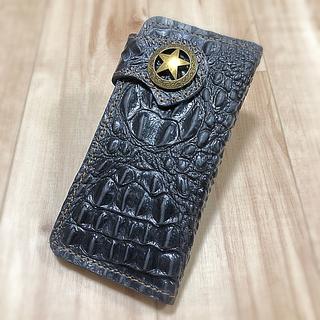 長財布 職人 牛革 本革 一点物 手縫い クロコダイル ブラック 黒 メンズ 革(長財布)