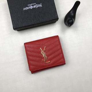イヴサンローランボーテ(Yves Saint Laurent Beaute)の人気✿。✿イヴサンローラン 三つ財❤布 YSL レッド 新品(財布)