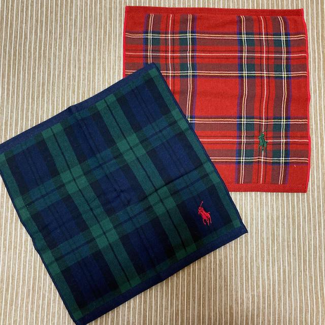 Ralph Lauren(ラルフローレン)のラルフローレン タオルハンカチ  ハンカチ 二枚 新品未使用 レディースのファッション小物(ハンカチ)の商品写真
