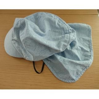 MUJI (無印良品) - MUJI 無印良品 54㎝ キッズ ベビー フラップ日除け付き帽子 ライトブルー