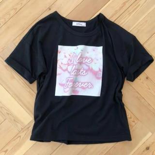 アンクルージュ(Ank Rouge)のアンクルージュ BIGフロントプリントTシャツ ブラック(Tシャツ(半袖/袖なし))