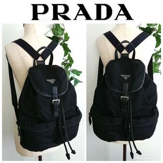 PRADA - 良品 プラダ 大きめ リュック バッグ ナイロン レザー 黒 レディース メンズ
