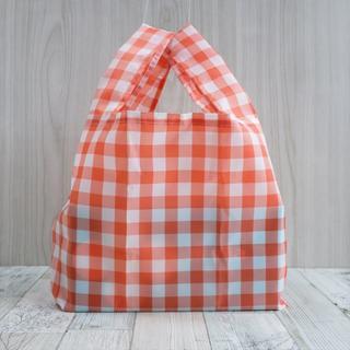 レジ袋型エコバッグ・コンビニ用サイズ オレンジ黒花タグ(バッグ)