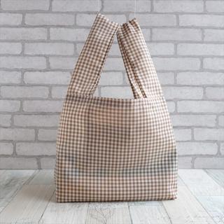レジ袋型エコバッグ・コンビニ用サイズ 茶チェック(バッグ)