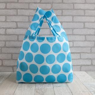 レジ袋型エコバッグ・コンビニ用サイズ 水色水玉(バッグ)