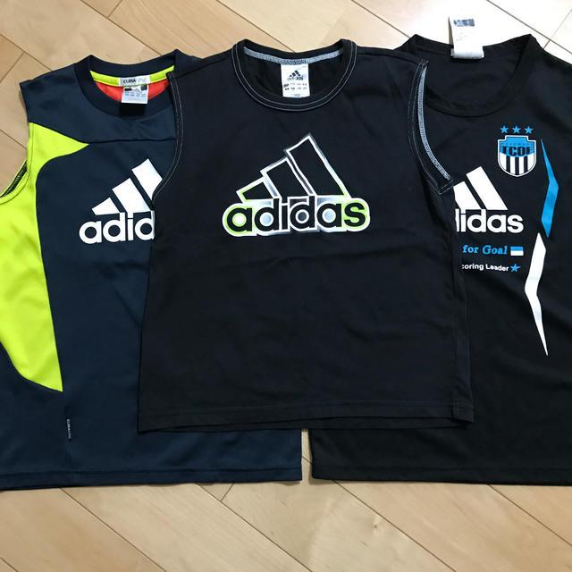 adidas(アディダス)のキッズノースリーブadidas 3枚組 140cm  キッズ/ベビー/マタニティのキッズ服男の子用(90cm~)(Tシャツ/カットソー)の商品写真