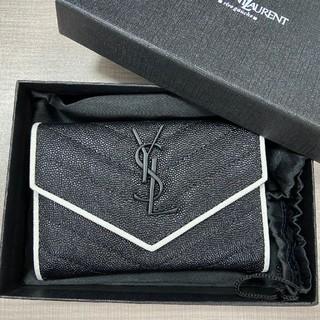 イヴサンローランボーテ(Yves Saint Laurent Beaute)の人気♥サンローランYSL  2つたたみ  折り財布 名刺入れ ブラック(財布)