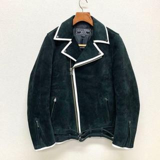 CHALLENGER パイピング スウェード ライダース XL 黒(ライダースジャケット)
