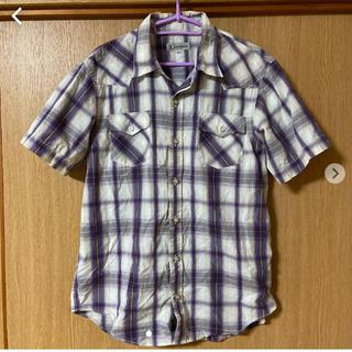 しまむら - 薄め紫色チェック半袖シャツ(メンズ)