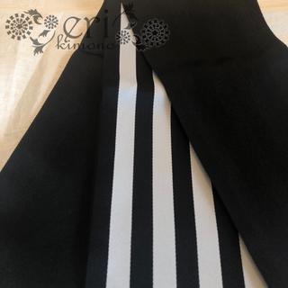 【半幅帯】浴衣帯 白黒 ストライプ  リバーシブル(浴衣)