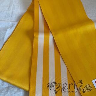 【半幅帯】浴衣帯 黄色 ストライプ(浴衣)