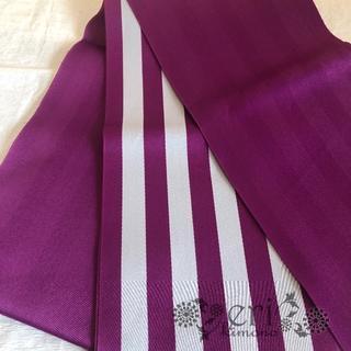 【半幅帯】浴衣帯 紫 ストライプ(浴衣)