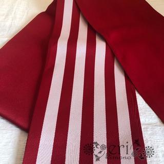 【半幅帯】浴衣帯 赤 ストライプ(浴衣)