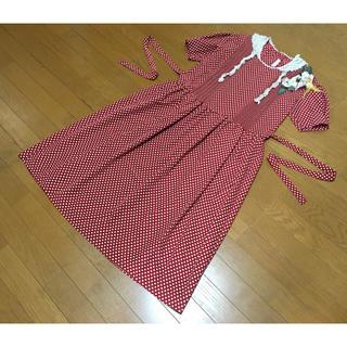 カネコイサオ(KANEKO ISAO)のピンクハウスカネコイサオデザインドット水玉赤半袖ワンピース1990年日本製(ロングワンピース/マキシワンピース)