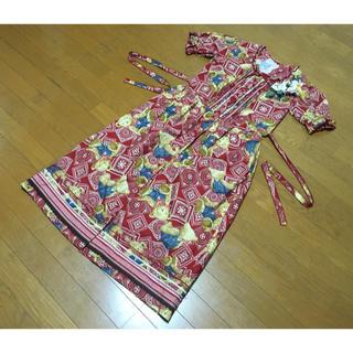 PINK HOUSE - ピンクハウステディベアくまバンダナペイズリー柄赤半袖ワンピース日本製