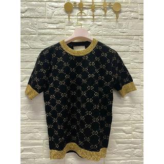 グッチ(Gucci)のGG Lurexモチーフ☆リブニットブルーコットンセーター(Tシャツ(半袖/袖なし))