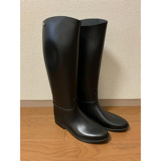 おまけ付【MEDUSE】シンプルロングレインブーツ☆39 ブラック(レインブーツ/長靴)