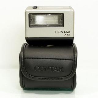 キョウセラ(京セラ)のCONTAX コンタックス TLA200 SILVER 革ケース付(ストロボ/照明)
