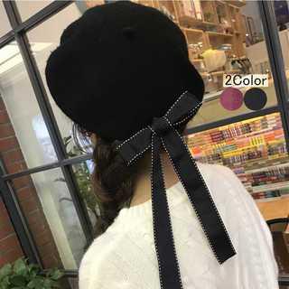 ベレー帽 リボン付き レディース 可愛い プレゼント ぼうし ギフト オール(ハンチング/ベレー帽)