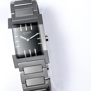 Hermes - 【仕上済】エルメス タンデム 黒文字盤 シルバー ブレス メンズ 腕時計