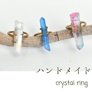 ハンドメイド 天然石 クリスタル クラスター リング(リング)