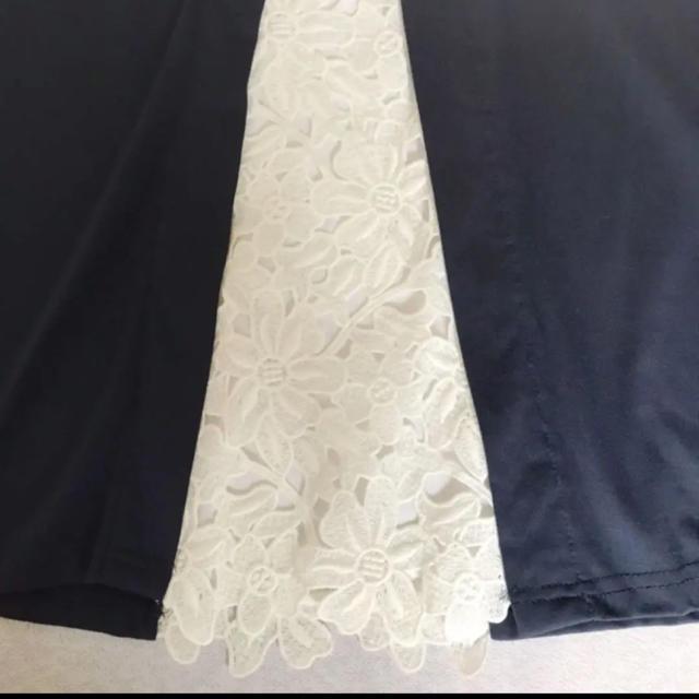 ROPE(ロペ)の新品☆Coope Radh 紺×白お花レース ワンピース レディースのワンピース(ひざ丈ワンピース)の商品写真