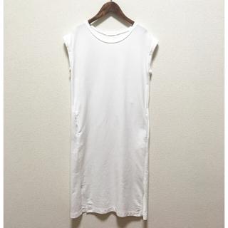 ジーユー(GU)の週末セール☆GU フレンチスリーブロングTワンピース 白Sサイズ (ひざ丈ワンピース)