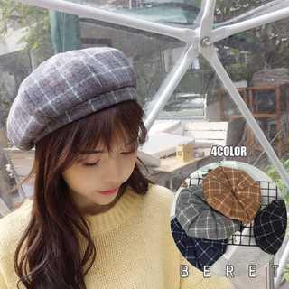 帽子 レディース チェック柄 暖かい 春秋 冬 大人 おしゃれ かぼちゃベレー(ハンチング/ベレー帽)