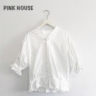 PINK HOUSE - 【PINK HOUSE】リボンコットンブラウス ピンクハウス