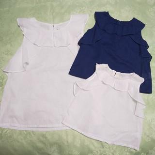 ブランシェス キッズ90とママのフリルトップスセット(Tシャツ/カットソー)