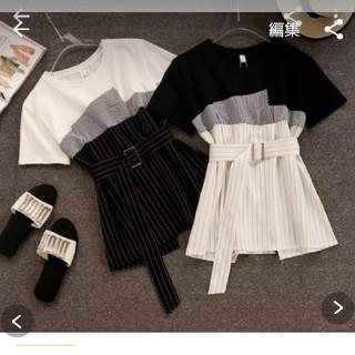 ビスチェレイヤードストライプTシャツ (Tシャツ(半袖/袖なし))