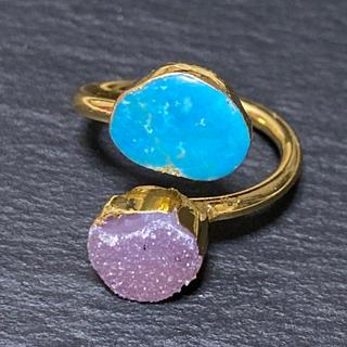 ローズバッド(ROSE BUD)のK18GP 天然石 リング 指輪 ターコイズ&ドゥルージー F(リング(指輪))