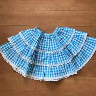 Shirley Temple - シャーリー 100 3段スカート 水色チェック