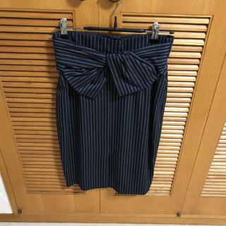 ジャスグリッティー(JUSGLITTY)のハイウエスト ストライプタイトスカート グリーン(ひざ丈スカート)