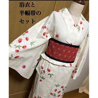 ユキコハナイ(Yukiko Hanai)のブランド浴衣と半幅帯のセット☆優しい色のマーガレット柄浴衣に麻の葉半幅帯/夏着物(浴衣)