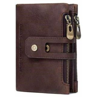 財布 二つ折り高級本革 レトロ風 札入れ 小銭入れ 隠しカードバッグ (折り財布)