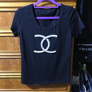 CHANEL - ビーズCマーク 黒Tシャツ