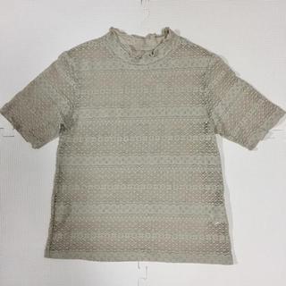 ジーユー(GU)のGU レースコンパクトTシャツ ベージュ(Tシャツ(半袖/袖なし))