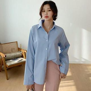 スタイルナンダ(STYLENANDA)の未使用 DHOLIC カラーシャツ ミント レディースファッション トップス (シャツ/ブラウス(長袖/七分))