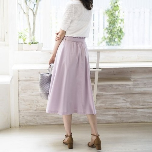 ANAYI(アナイ)のリネン混ストレッチフレアスカート レディースのスカート(ひざ丈スカート)の商品写真