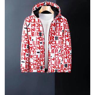 モンクレール(MONCLER)のモンクレール 全体文字ロゴ赤ジャケット(ライダースジャケット)