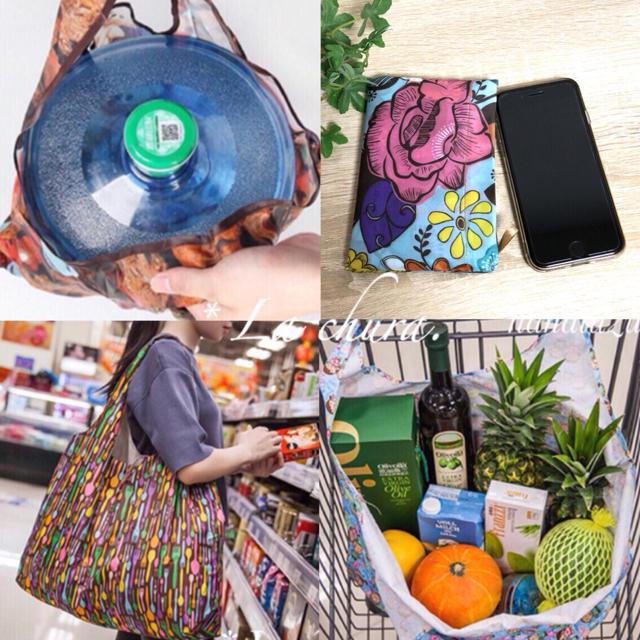 ✳️BIGサイズ おしゃれ 総柄 折りたたみ エコバッグ ★すいかNo.115 レディースのバッグ(トートバッグ)の商品写真