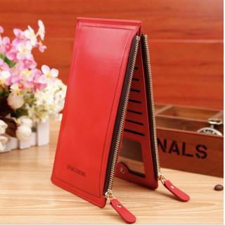 PUレザー カードケース 財布 大容量 ダブルファスナー レッド(長財布)