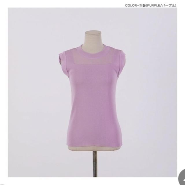 デコルテシースルーデザイントップス(パープルピンク) レディースのトップス(カットソー(半袖/袖なし))の商品写真