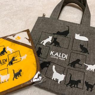 カルディ(KALDI)のKALDI 鍋敷とミニバッグ 2点セット(収納/キッチン雑貨)