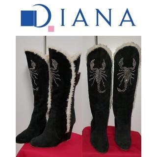 ダイアナ(DIANA)のDIANA ダイアナ キラキラ ファー ラインストーン ビジュー ストーン(ブーツ)